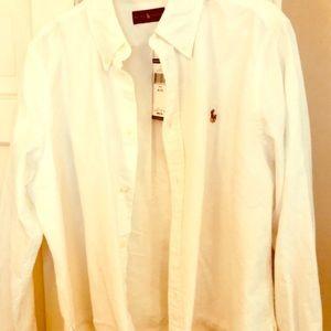 Ralph Lauren whitebutton down crop  fringed